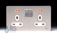 Schneider Flat Plate Screwless Double Pole Double Socket Stainless Steel Neon GU3421DWSS