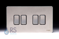 Schneider Flat Plate Screwless Light Switch Stainless Steel 4G GU1442BSS