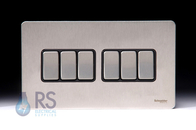 Schneider Flat Plate Screwless Light Switch Stainless Steel 6G GU1462BSS