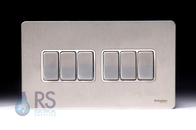 Schneider Flat Plate Screwless Light Switch Stainless Steel 6G GU1462WSS