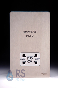 Schneider Flat Plate Screwless Shaver Socket Stainless Steel GU7490WSS