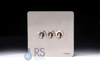 Schneider Flat Plate Screwless Toggle Switch Stainless Steel GU1432TSS