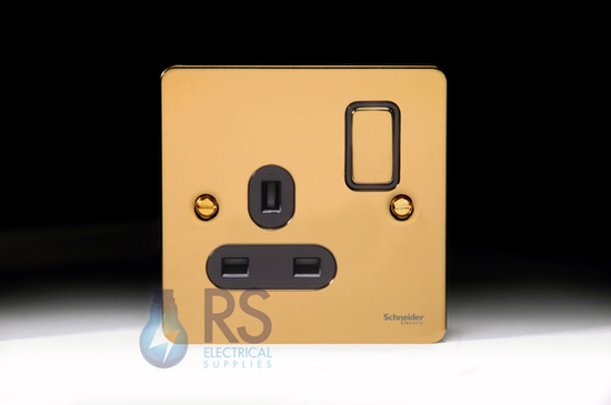 Schneider Flat Plate Single Socket DP Polished Brass GU3210DBPB