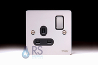 Schneider Flat Plate Single Socket DP Polished Chrome GU3210DBPC