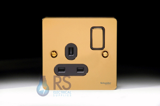 Schneider Flat Plate Single Socket Polished Brass GU3210BPB