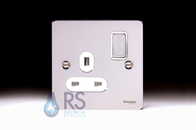 Schneider Flat Plate Single Socket Polished Chrome GU3210WPC