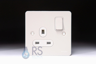 Schneider Flat Plate Single Socket White Metal GU3210WPW