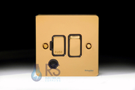 Schneider Flat Plate Switched Spur Flex Outlet Polished Brass GU5213BPB