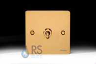 Schneider Flat Plate Toggle Switch Polished Brass 1G GU1212TPB