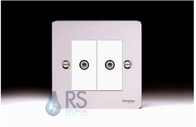 Schneider Flat Plate Twin Satellite Socket Polished Chrome GU72302MWPC