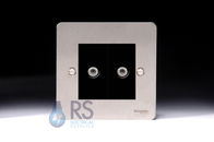 Schneider Flat Plate Twin Satellite Socket Stainless Steel GU72302MBSS