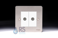 Schneider Flat Plate Twin Satellite Socket Stainless Steel GU72302MWSS