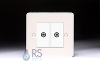 Schneider Flat Plate Twin Satellite Socket White Metal GU72302MWPW