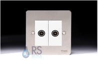 Schneider Flat Plate Twin TV Socket Stainless Steel GU7220MWSS