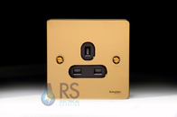 Schneider Flat Plate Unswitched Socket Polished Brass GU3250BPB