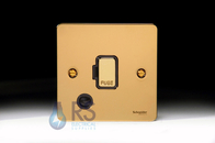 Schneider Flat Plate Unswitched Spur Flex Outlet Polished Brass GU5203BPB