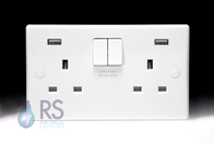 Schneider Ultimate Slimline White Moulded Double USB Socket GGBGU30202USBRP