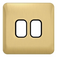 Schneider Lisse Deco Screwless 2G Satin Brass Grid Plate GGBL02GBSB