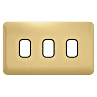 Schneider Lisse Deco Screwless 3G Satin Brass Grid Plate GGBL03GBSB
