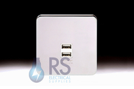 Schneider Lisse Screwless Deco 1G 2 x USB Socket Polished Chrome GGBL70042S