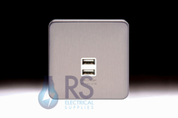 Schneider Lisse Screwless Deco 1G 2 x USB Socket Stainless Steel GGBL70042S
