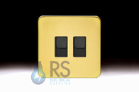 Schneider Lisse Screwless Deco 1G 2x RJ45 Cat6e UTP Outlet Satin Brass GGBL7072C6BSBS