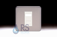Schneider Lisse Screwless Deco 1G RJ45 Cat5e UTP Outlet Stainless Steel GGBL7071C5MS