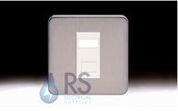 Schneider Lisse Screwless Deco 1G RJ45 Cat5e UTP Outlet Stainless Steel GGBL7071C5MWSS
