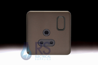 Schneider Lisse Screwless Deco 5A Round Pin Switched Socket Mocha Bronze GGBL3081BMB