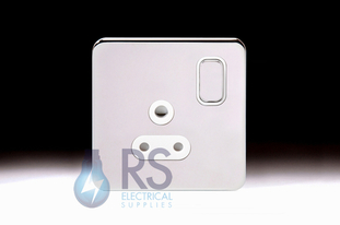 Schneider Lisse Screwless Deco 5A Round Pin Switched Socket Polished Chrome GGBL3081