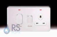 Schneider Lisse Screwless Deco Cooker Control Unit & Socket Polished Chrome GGBL4001