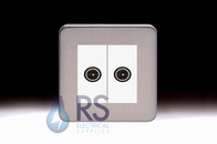Schneider Lisse Screwless Deco Diplex TV-R/DAB Outlet Stainless Steel GGBL7020MWSS