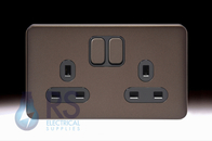 Schneider Lisse Screwless Deco Double Socket DP Mocha Bronze GGBL3020DBMB