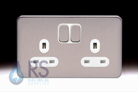 Schneider Lisse Screwless Deco Double Socket DP Stainless Steel GGBL3020DSS