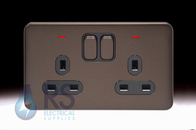 Schneider Lisse Screwless Deco Double Socket DP with LED Mocha Bronze GGBL3021DBMB