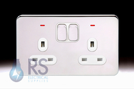 Schneider Lisse Screwless Deco Double Socket DP with LED Polished Chrome GGBL3021D
