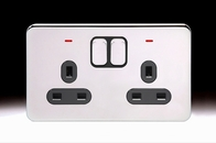Schneider Lisse Screwless Deco Double Socket DP with LED Polished Chrome GGBL3021DBPC