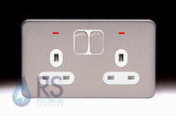 Schneider Lisse Screwless Deco Double Socket DP with LED Stainless Steel GGBL3021D