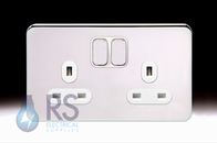 Schneider Lisse Screwless Deco Double Socket Polished Chrome GGBL3020