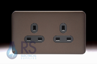Schneider Lisse Screwless Deco Double Unswitched Socket Mocha Bronze GGBL3060BMBS