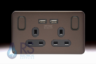 Schneider Lisse Screwless Deco Double USB Socket Mocha Bronze GGBL30202USBABMBS
