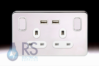 Schneider Lisse Screwless Deco Double USB Socket Polished Chrome GGBL30202USBA_PC