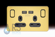 Schneider Lisse Screwless Deco Double USB Socket Satin Brass GGBL30202USBABSBS