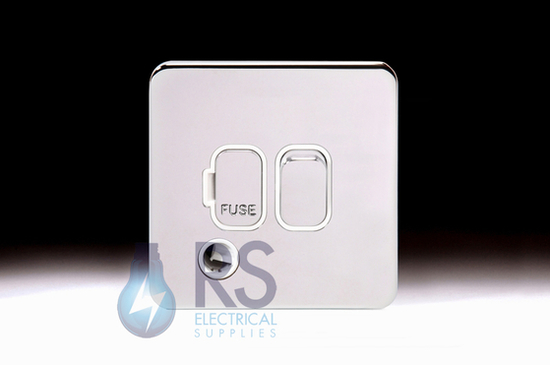 Schneider Lisse Screwless Deco DP Switched Spur With Flex Outlet Polished Chrome GGBL5013