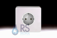 Schneider Lisse Screwless Deco European Socket Polished Chrome GGBL3016A1