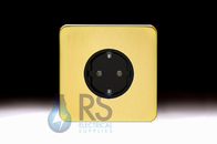 Schneider Lisse Screwless Deco European Socket Satin Brass GGBL3016A1BSB
