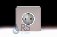 Schneider Lisse Screwless Deco European Socket Stainless Steel GGBL3016A1SS