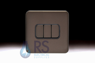 Schneider Lisse Screwless Deco Light Switch 3G 2W Mocha Bronze GGBL1032BMB