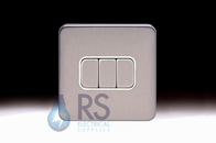 Schneider Lisse Screwless Deco Light Switch 3G 2W Stainless Steel GGBL1032