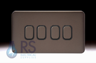Schneider Lisse Screwless Deco Light Switch 4G 2W Mocha Bronze GGBL1042BMB